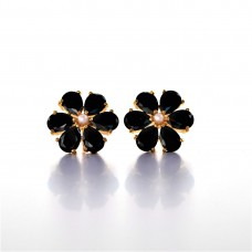 EARRING BLACK GEM STONE WITH PERAL EM6380